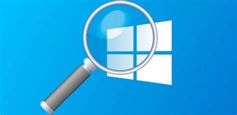 Imagen de lupa sobre logo de Windows