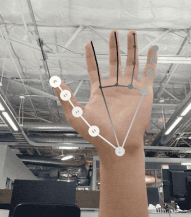 Imagen de una Inteligencia Artificial reconociendo los gestos de una mano.