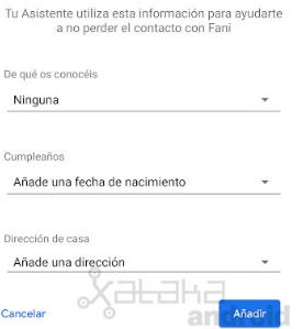 Captura de pantalla de Contactos Favoritos del Asistente de Google