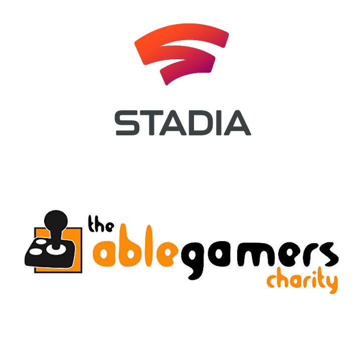 Logos de Google Stadia y AbleGamers