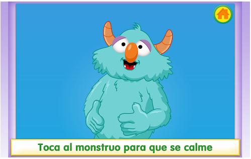 Pantalla de juego de la aplicación toca al monstruo para que se calme.