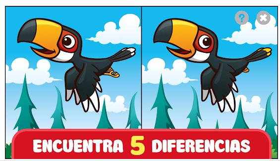 pantalla de buscar diferencias en imagnes iguales