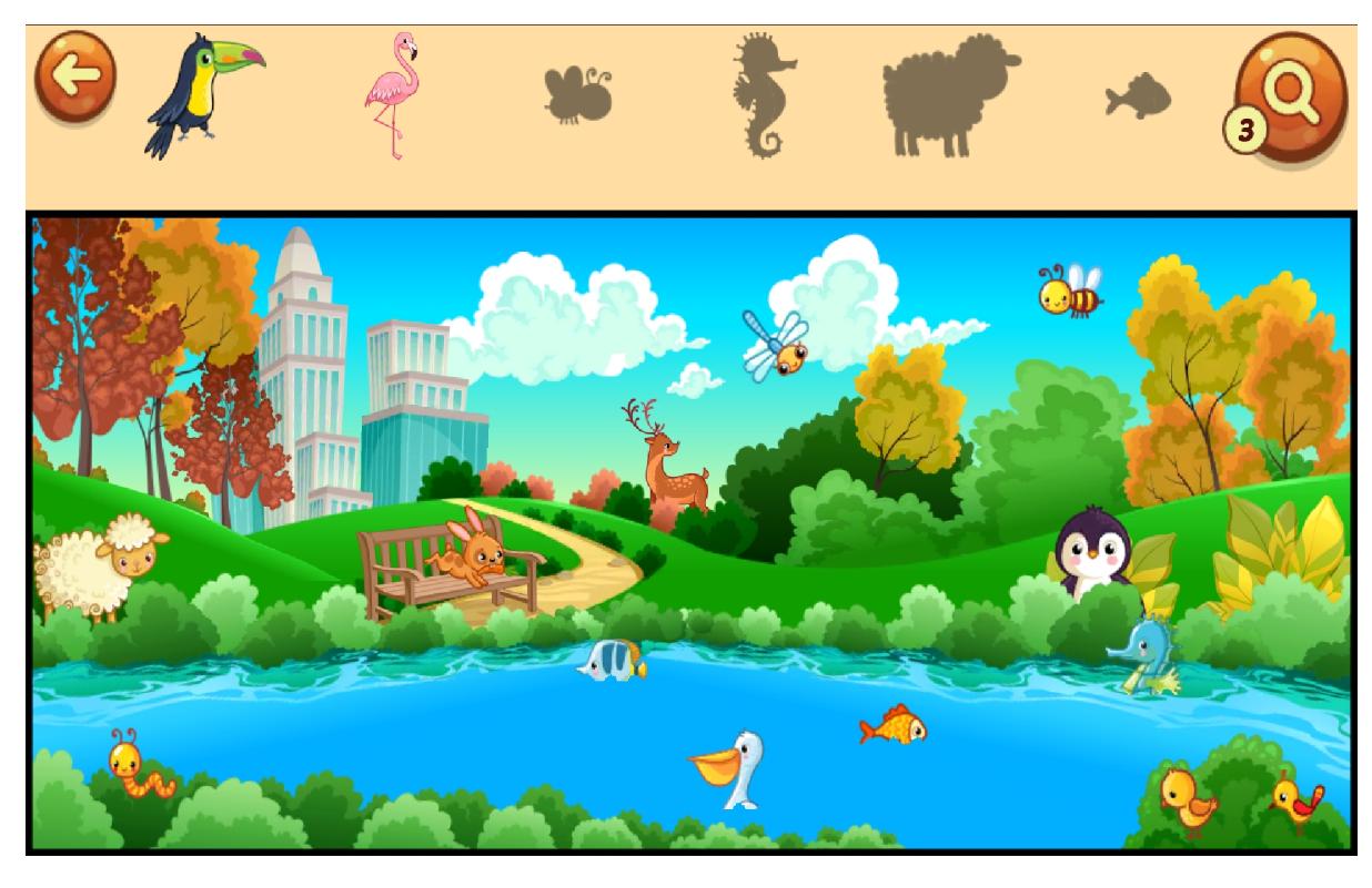pantalla de juego de localizar objetos concretos