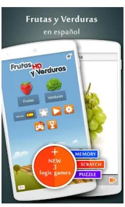 pantalla principal de la aplicación fruta y verdura