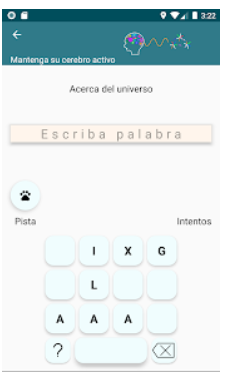 pantalla de jeugo para completar palabras.