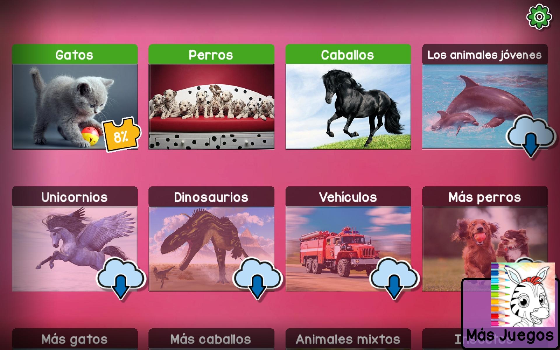 pantalla de otros puzzles con distintos animales