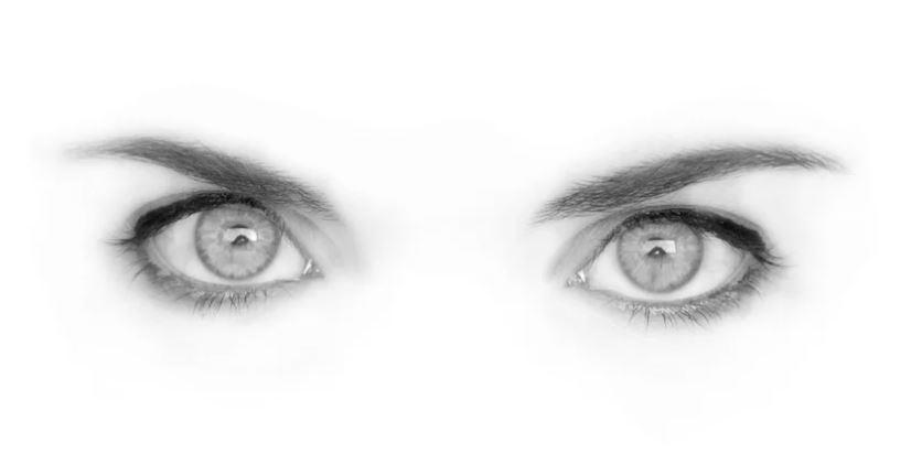 Foto en grises de ojos de una mujer