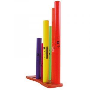 Tubos de colores que emiten las notas musicales