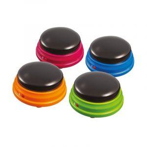 Botones circulares de colores que permiten la grabación de mensajes