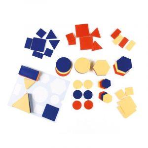 Formas geométricas de diversos colores y tamaños para actividades de clasificación