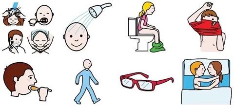 Distintos pictogramas de actividades del día a día