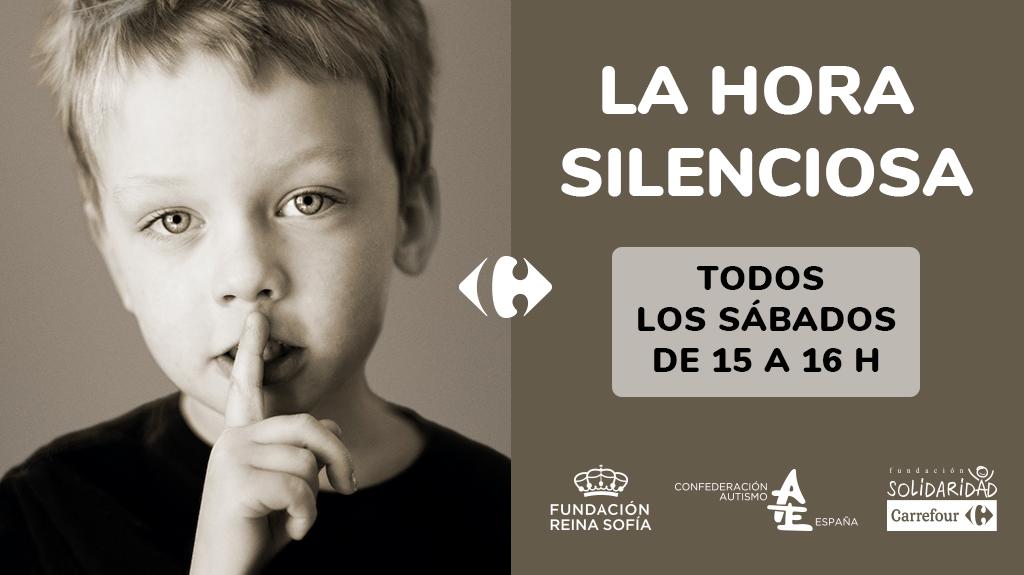 Eslogan del la iniciativa. Imagen de un niño con el dedo en la boca en señal de silencio.